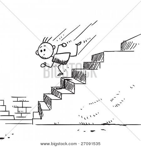 Sketch style illustration of a child running downstairs