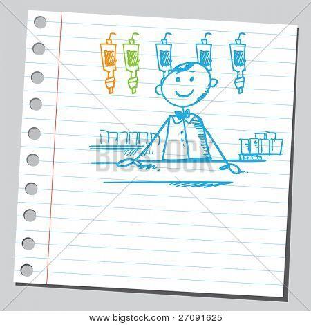 Sketch style illustration of a barman
