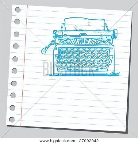 Ilustración incompleto de una máquina de escribir