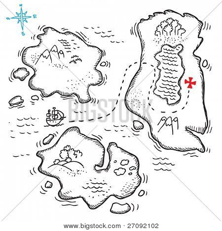 Sketchy illustration of a treasure map