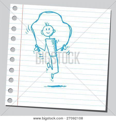 Sketchy illustration of a kid skipping rope