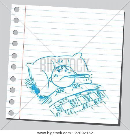 Sketchy illustration of a boy having a fever