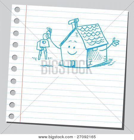 skizzenhafte Darstellung der eine lustige Haus holding House keys