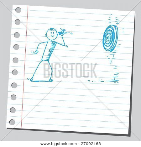 Sketchy illustration of a man throw dart