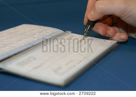 Person Writing A Check