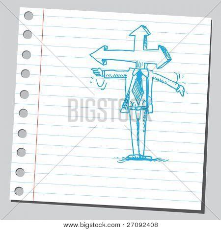 skizzenhafte Darstellung eines Mannes Pfeil unter der Leitung
