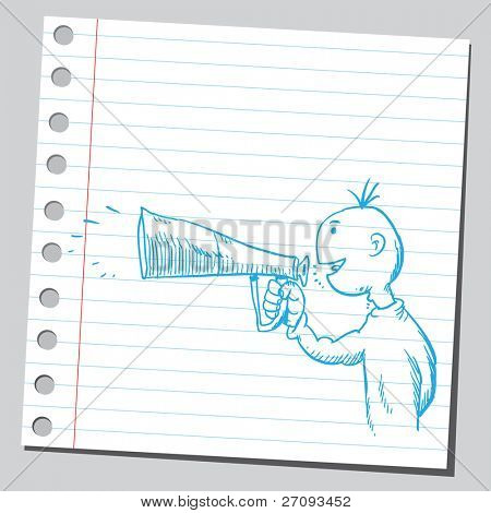 Drawing of a man holding and speaking in to megaphone