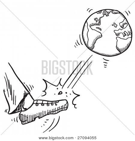 Sketchy illustration of a leg kicking the planet Earth