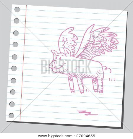 Funny sketch of a flying pig
