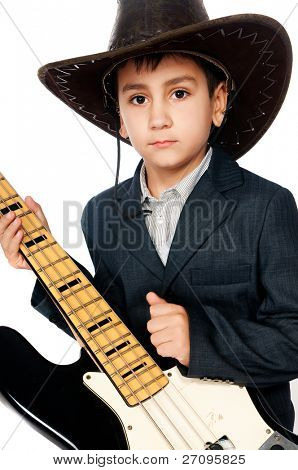 boy in a cowboy hat and guitar isolated on white background
