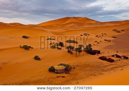 Bedouin Encampment On Sand Dune In Sahara Desert Morocco.