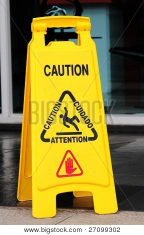 Floor caution sign.