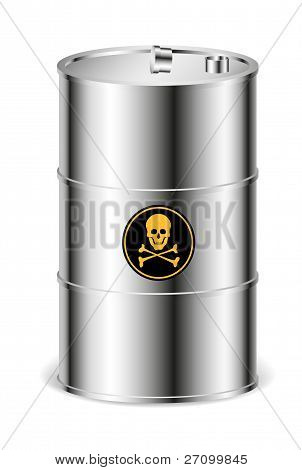 Metal barrel with warning sign