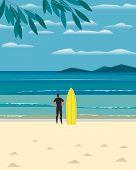 Sport Fun On Sea Beach. Leisure Activity On Sand Seashore. Colorful Minimal Style Cartoon. Young Man poster