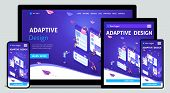 Template Landing Page Isometric Concept Of Web Design And Development Of Mobile Websites, Adaptive D poster
