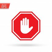 Stop Sign Push Hand. Do Not Enter Stop Symbol With Hand. Silhouette Of Human Open Palm. Hand Gesture poster