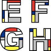 Mondrian Alphabets Efgh (Vector) poster