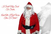Santa Claus. Isolated on white. Room for text.  Santa Claus with a Ghost or Shadow behind him. Text  poster