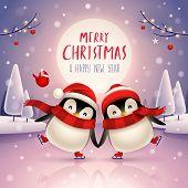 Cute Little Penguins Skate On Frozen River Under The Moonlight In Christmas Snow Scene. Christmas Cu poster