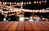 Selective Empty Wooden Table In Front Of Abstract Blurred Festive Light Background With Light Spots  poster