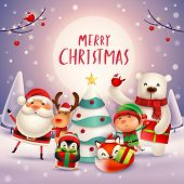 Merry Christmas! Happy Christmas Companions In The Moonlight. Santa Claus, Reindeer, Elf, Polar Bear poster