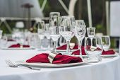 Wedding Table Decoration, Catering Service Table Set For An Event Party Or Wedding Reception poster