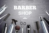 Barber Shop Hair Styling Tools Supplies Set Realistic Monochrome Top View With Shaving Brush Backgro poster