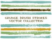 Long Ink Brush Strokes Isolated Design Elements. Set Of Paint Lines. Abstract Stripes, Textured Pain poster