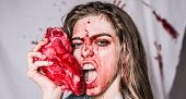 Steak Concept. Hungry Woman With Meat Steak. Hungry Emotional Angry Woman Screaming. A Sensual Blood poster