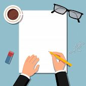 Empty Blank. Pen In Hand. A Blank Paper To Write.man Hold Pencil And Writes. Business Man Holding Pe poster