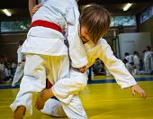 Competition At Judo School, Two Little Wrestling Boys In The Fight, Effort And Attainment. poster