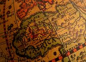 foto of north sudan  - old brown globe with many different counties - JPG