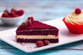 Piece Of Red Velvet Cake, Homemade Cake With Raspberry And Cream. Perfect Dessert For Valentine Day. poster