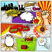 Comics Template. Vector Retro Comic Book Speech Bubbles Illustration. Mock-up Of Comic Book Page Wit poster