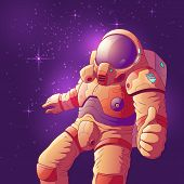Astronaut In Futuristic Spacesuit Showing Thumb Up Hand Sign, Flying In Weightlessness Cartoon Vecto poster