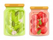 Hermetic Bottles With Preserved Food Vector Poster. Isolated Tomatoes With Bay Leaf And Peppercorn J poster