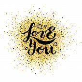 Handwritten Lettering Love You poster