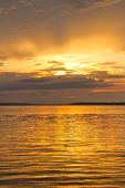 The Sun Setting Over Waskesiu Lake In Prince Albert National Park Of Canada. poster