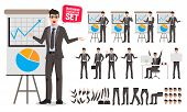 Business Man Presentation Vector Character Set. Cartoon Character Creation Of Male Business Person T poster