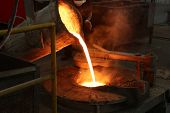 Molten Iron Pour From Ladle Into Melting Furnace ; Foundry Porcess poster