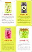 Preserved Food In Marinade Inside Jars Posters Set. Cucumbers With Bay Leaf, Greek Olives, Cherry To poster