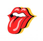 Rock Symbol Mouth With Tongue Sticking Out. Person Showing Teeth, Make Up On Woman Lips. Sign Of Roc poster