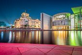 Panoramic Twilight View Of Famous Berlin Government District With Spree River During Blue Hour At Du poster