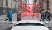 Emergency Braking Assist (eba) Sysyem To Avoid Car Crash Concept. Smart Car Technology, poster