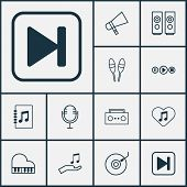 Audio Icons Set With Audio Buttons, Microphone, Megaphone And Other Skip Song Elements. Isolated Vec poster
