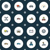 Automobile Icons Colored Line Set With Gear, Tesla, Garage And Other Carcass Elements. Isolated Vect poster