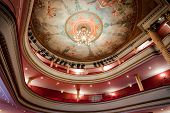 foto of pilaster  - 19th Cahors classical theater in France with paintings on ceiling and balcony - JPG
