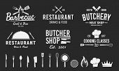 Set Of 6 Vintage Logos And 14 Design Elements For Logo, Emblem. Restaurant Business. Butchery, Barbe poster