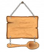 image of food chain  - The old wooden sign with a spoon - JPG