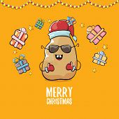 Vector Funky Comic Cartoon Cute Brown Smiling Santa Claus Potato With Red Santa Hat, Gifts And Calli poster